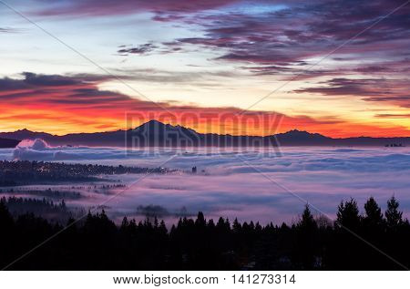 Sunrise view of Mount Baker from west Vancouver BC Canada