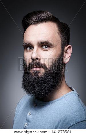 Studio Portrait Of Stylish Bearded Man;