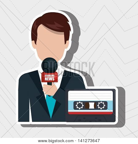 reporter avatar with cassette isolated icon design, vector illustration  graphic