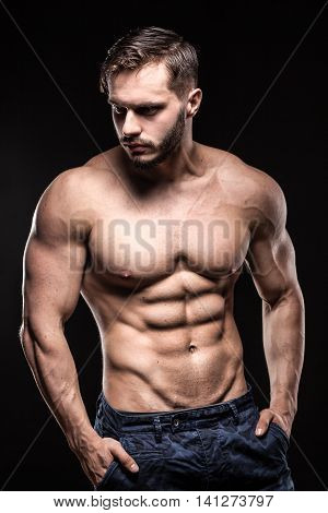 Bodybuilder Sportsman Shows Perfect Body Muscles;