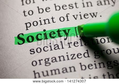 Fake Dictionary definition of the word society.