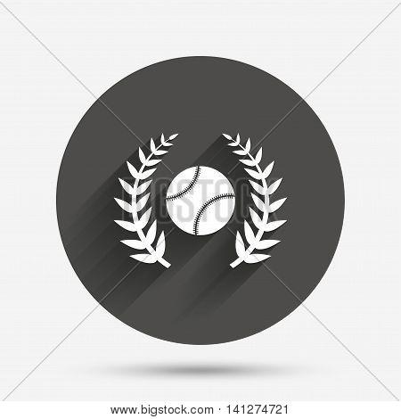 Baseball sign icon. Sport laurel wreath symbol. Winner award. Circle flat button with shadow. Vector