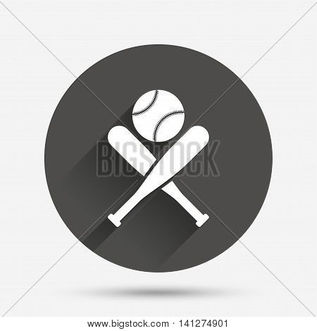 Baseball bats and ball sign icon. Sport hit equipment symbol. Circle flat button with shadow. Vector