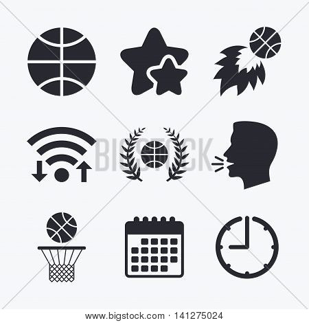 Basketball sport icons. Ball with basket and fireball signs. Laurel wreath symbol. Wifi internet, favorite stars, calendar and clock. Talking head. Vector
