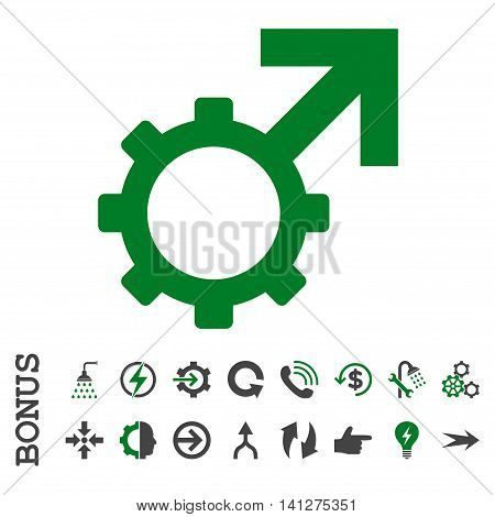 Technological Potence vector bicolor icon. Image style is a flat pictogram symbol, green and gray colors, white background.