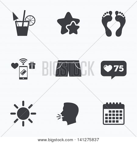 Beach holidays icons. Cocktail, human footprints and swimming trunks signs. Summer sun symbol. Flat talking head, calendar icons. Stars, like counter icons. Vector
