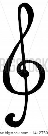 Treble clef key music hand drawn doodle isolated vector