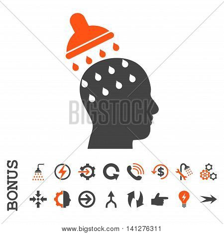 Brain Washing vector bicolor icon. Image style is a flat pictogram symbol, orange and gray colors, white background.