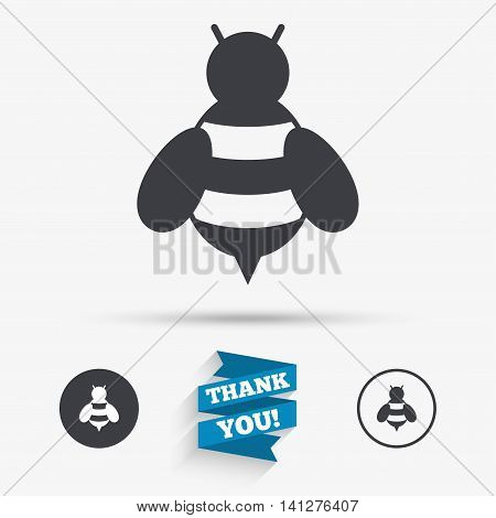 Bee sign icon. Honeybee or apis with wings symbol. Flying insect. Flat icons. Buttons with icons. Thank you ribbon. Vector