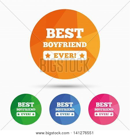 Best boyfriend ever sign icon. Award symbol. Exclamation mark. Triangular low poly button with flat icon. Vector