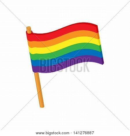 Flag LGBT icon in cartoon style isolated on white background. Tolerance symbol