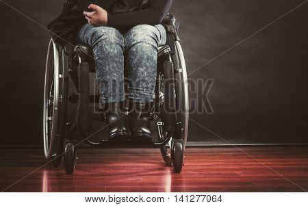 Depressed Person On Wheelchair.