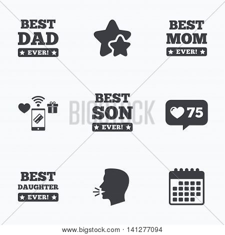 Best mom and dad, son and daughter icons. Awards with exclamation mark symbols. Flat talking head, calendar icons. Stars, like counter icons. Vector