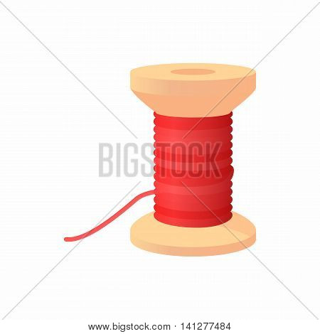 Spool of thread icon in cartoon style isolated on white background. Sewing symbol