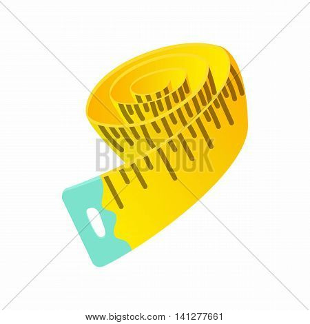 Measuring tape icon in cartoon style isolated on white background. Dimensions symbol
