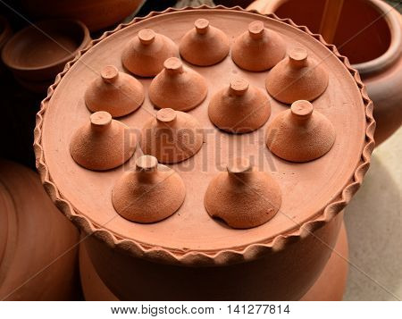 Pottery made form cray. Earthenware use for thai dessert.