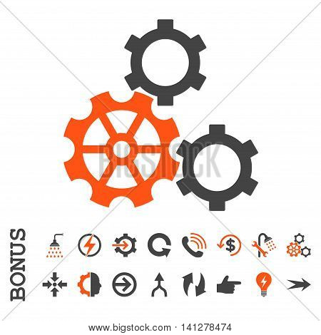 Gears vector bicolor icon. Image style is a flat pictogram symbol, orange and gray colors, white background.