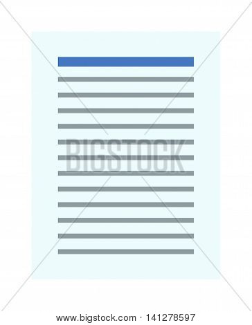 Notebook document line sheet icon symbol illustration. Symbol test icon and paper doc icon. Paper document sheet icon and report clipboard icon