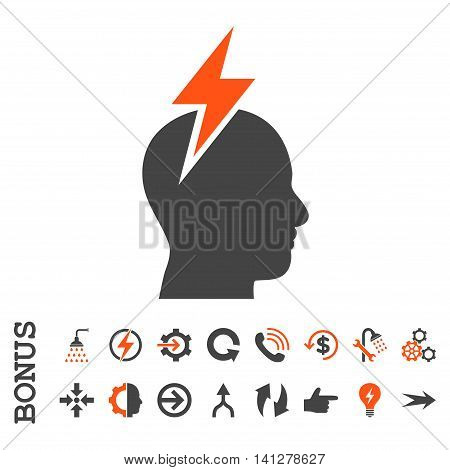 Headache vector bicolor icon. Image style is a flat pictogram symbol, orange and gray colors, white background.