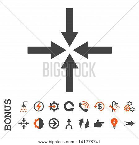 Impact Arrows vector bicolor icon. Image style is a flat iconic symbol, orange and gray colors, white background.
