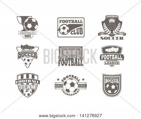 Set of european football, soccer labels, emblems and design championship elements. Vector set of soccer logo football tournament icon symbol. Soccer logo team emblem badge sport competition.