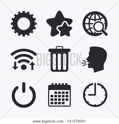 Globe magnifier glass and cogwheel gear icons. Recycle bin delete and power sign symbols. Wifi internet, favorite stars, calendar and clock. Talking head. Vector