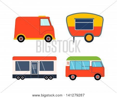 Old camping trailer house standing summer day, nature holiday trailer house concept. Trailer house vector and trailer house mobile park caravan. Trailer house travel camper truck vehicle.