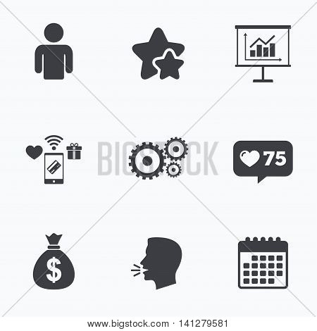 Business icons. Human silhouette and presentation board with charts signs. Dollar money bag and gear symbols. Flat talking head, calendar icons. Stars, like counter icons. Vector