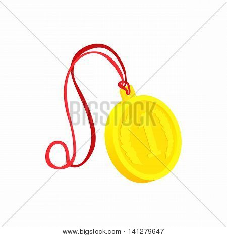 Medal for first place icon in cartoon style isolated on white background. Win symbol