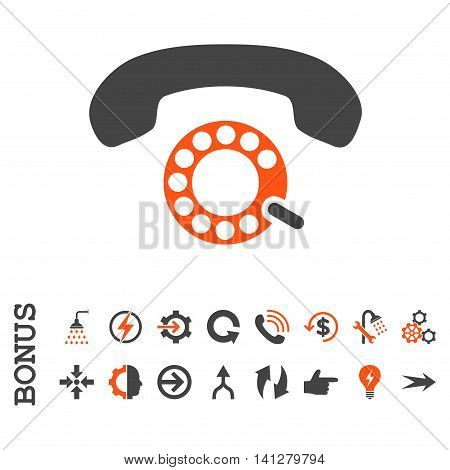 Pulse Dialing vector bicolor icon. Image style is a flat iconic symbol, orange and gray colors, white background.