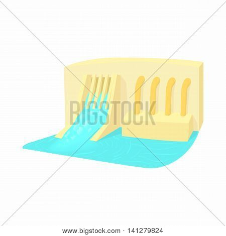 Water dam icon in cartoon style isolated on white background. Hoarding symbol