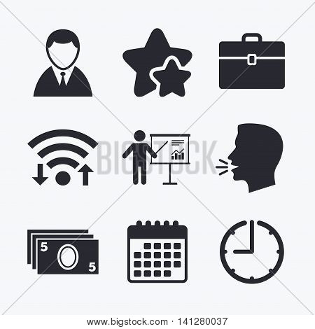 Businessman icons. Human silhouette and cash money signs. Case and presentation with chart symbols. Wifi internet, favorite stars, calendar and clock. Talking head. Vector