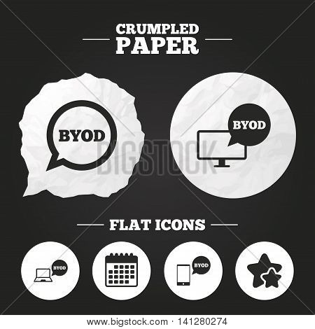 Crumpled paper speech bubble. BYOD icons. Notebook and smartphone signs. Speech bubble symbol. Paper button. Vector