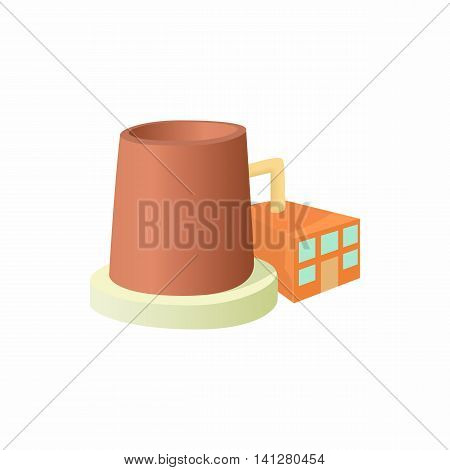 Factory with cylinder to store chemicals icon in cartoon style isolated on white background. Manufacture symbol