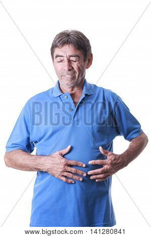Senior Man Suffers From Stomachache