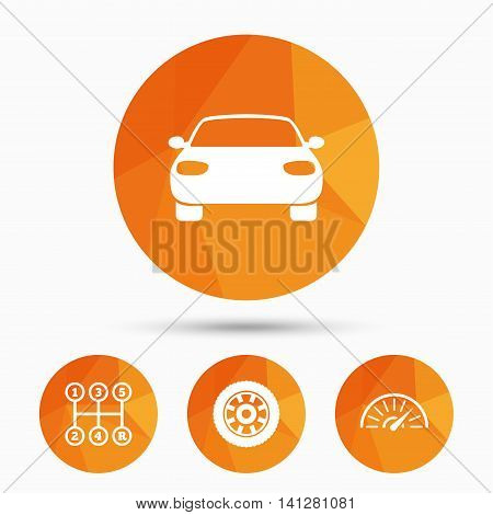 Transport icons. Car tachometer and mechanic transmission symbols. Wheel sign. Triangular low poly buttons with shadow. Vector