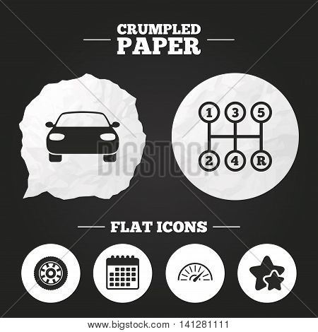 Crumpled paper speech bubble. Transport icons. Car tachometer and mechanic transmission symbols. Wheel sign. Paper button. Vector