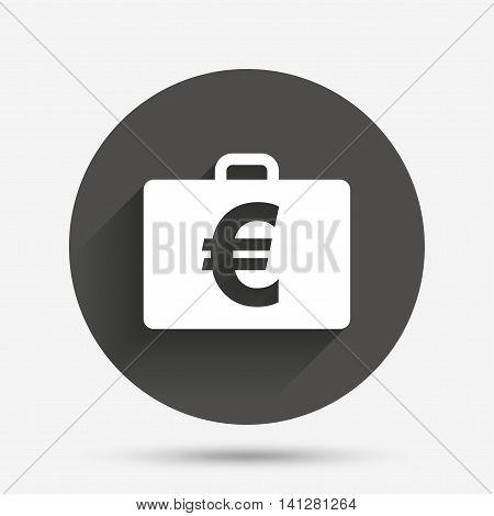 Case with Euro EUR sign icon. Briefcase button. Circle flat button with shadow. Vector