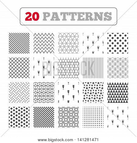Ornament patterns, diagonal stripes and stars. Champagne wine glasses icons. Alcohol drinks sign symbols. Sparkling wine with bubbles. Geometric textures. Vector