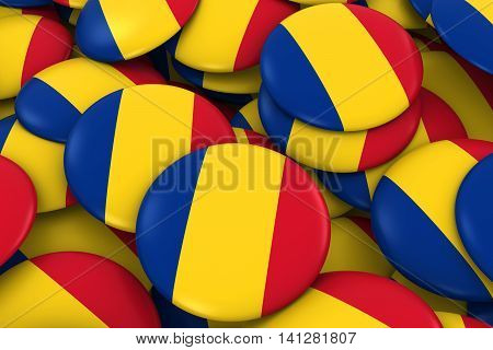 Romania Badges Background - Pile Of Romanian Flag Buttons 3D Illustration