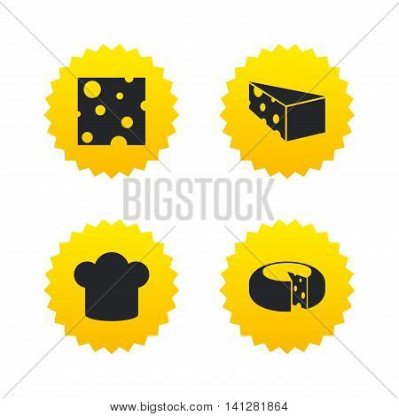 Cheese icons. Round cheese wheel sign. Sliced food with chief hat symbols. Yellow stars labels with flat icons. Vector