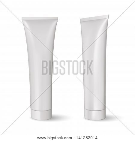 White blank tube, gel or cream. Product packing. Mock up. Toothpaste tube.