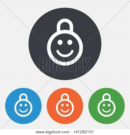 Child lock icon. Locker with smile symbol. Child protection. Round circle buttons. Vector