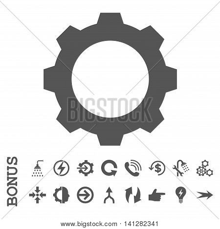 Gear vector icon. Image style is a flat pictogram symbol, gray color, white background.