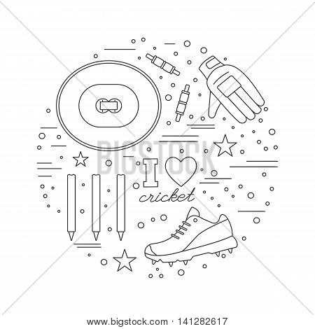 Round composition with cricket game symbols and objects. Cricket game icons arranged in round shape. Professional sport equipment graphic design elements isolated on white background. Vector template.