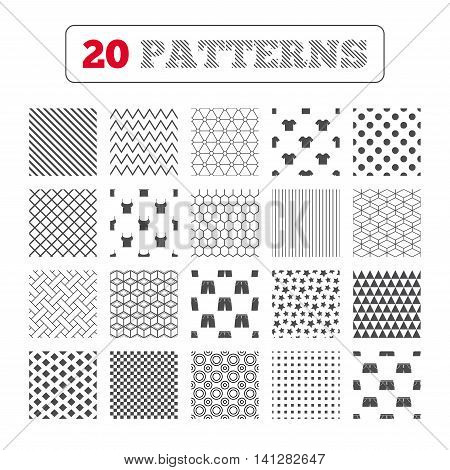 Ornament patterns, diagonal stripes and stars. Clothes icons. T-shirt and pants with shorts signs. Swimming trunks symbol. Geometric textures. Vector