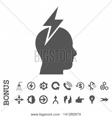 Headache vector icon. Image style is a flat pictogram symbol, gray color, white background.