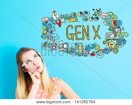 Gen X Concept With Young Woman
