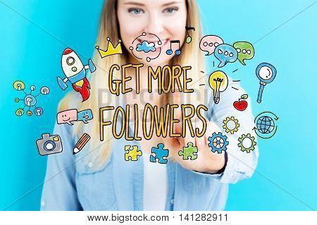 Get More Followers Concept With Young Woman