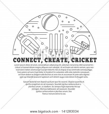 Flyer poster with cricket symbols and objects in circle with place for text. Vector template with professional cricket sport graphic design elements in thin line style isolated on white background.